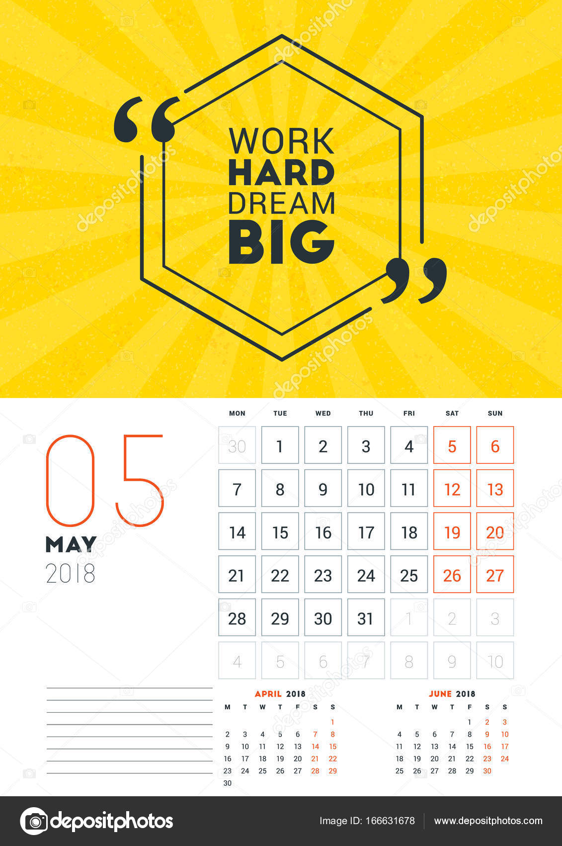 Wall Calendar Template For May 2018 Vector Design Print Template