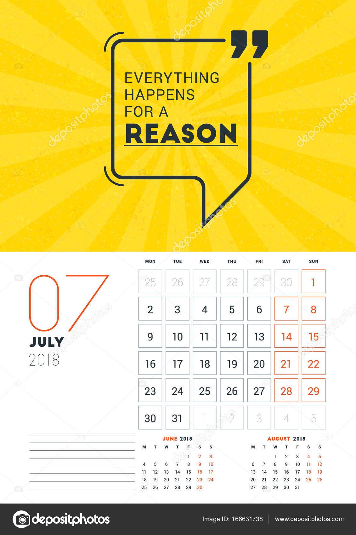 Wall Calendar Template For July 2018 Vector Design Print Template