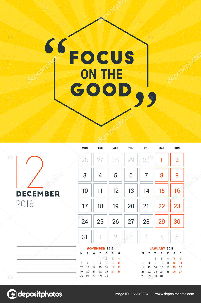Calendar Typography Template : Wall calendar template for december vector design