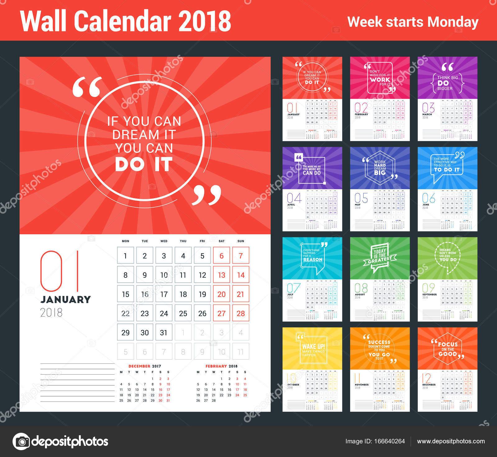 Calendar Design Quote : Wall calendar template for year vector design print template