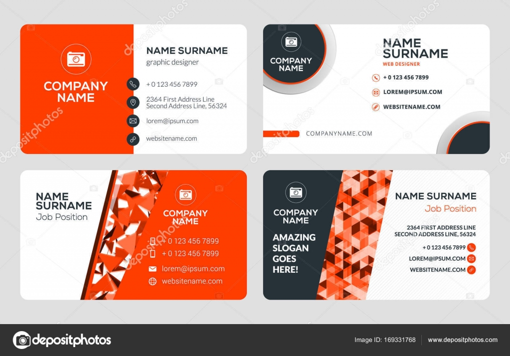 Set of 4 business card templates flat design vector illustration set of 4 business card templates flat design vector illustration stationery design red reheart Choice Image