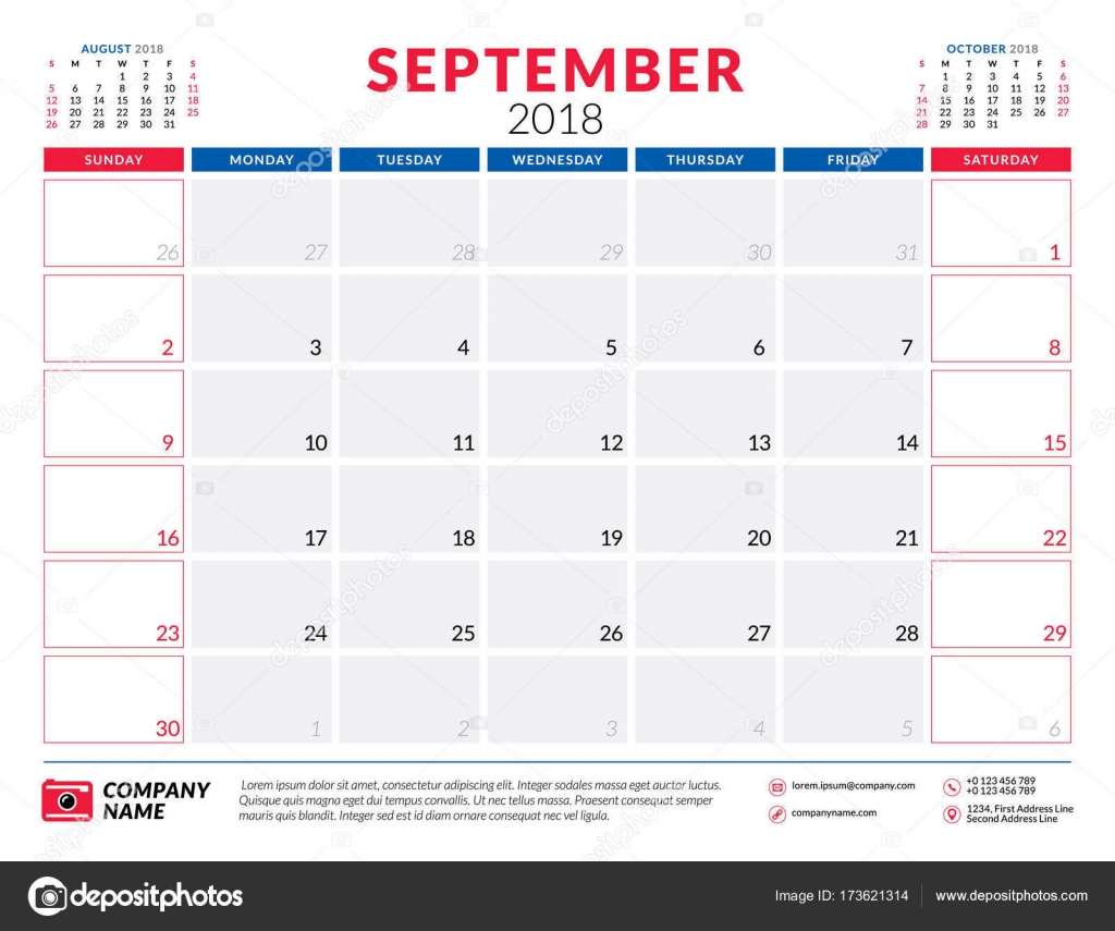 september 2018 calendar planner design template week starts on sunday stationery design