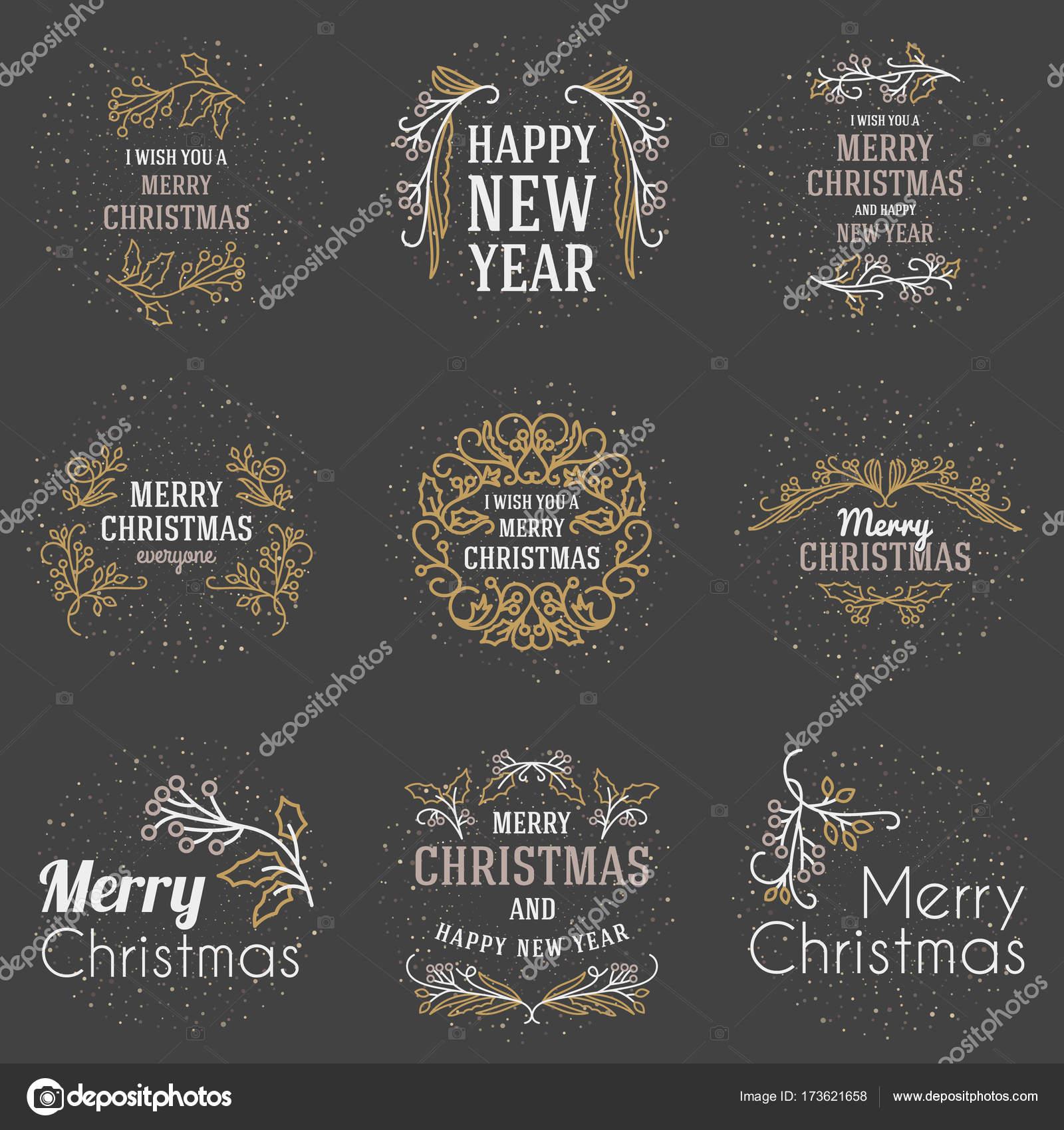 Satz von Frohe Weihnachten und glückliches neues Jahr dekorativen ...
