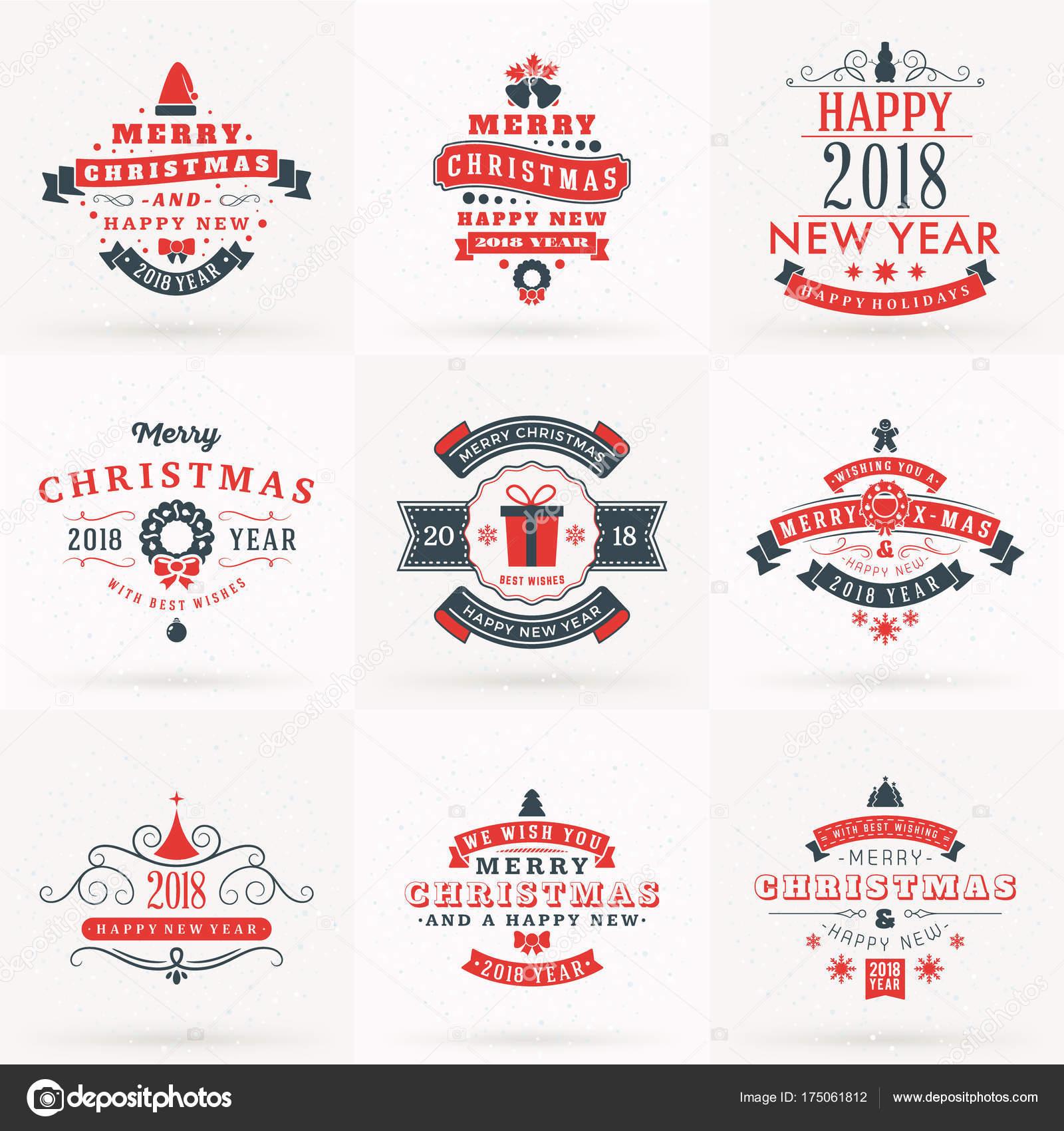 Juego De Feliz Navidad Y Feliz Ano Nuevo 2018 Insignias Decorativas