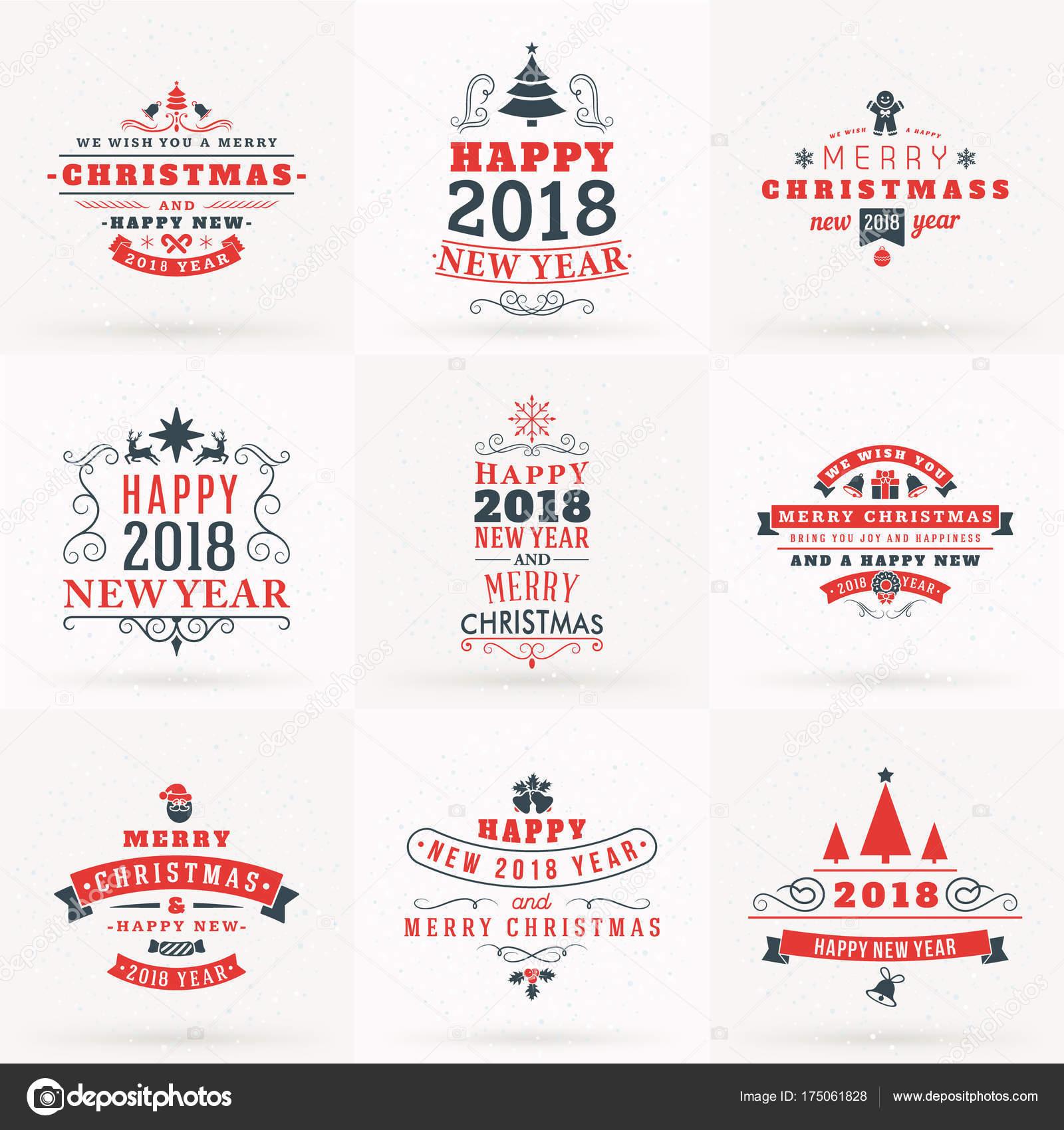 Insignias Decorativas Juego De Feliz Navidad Y Feliz Ano Nuevo