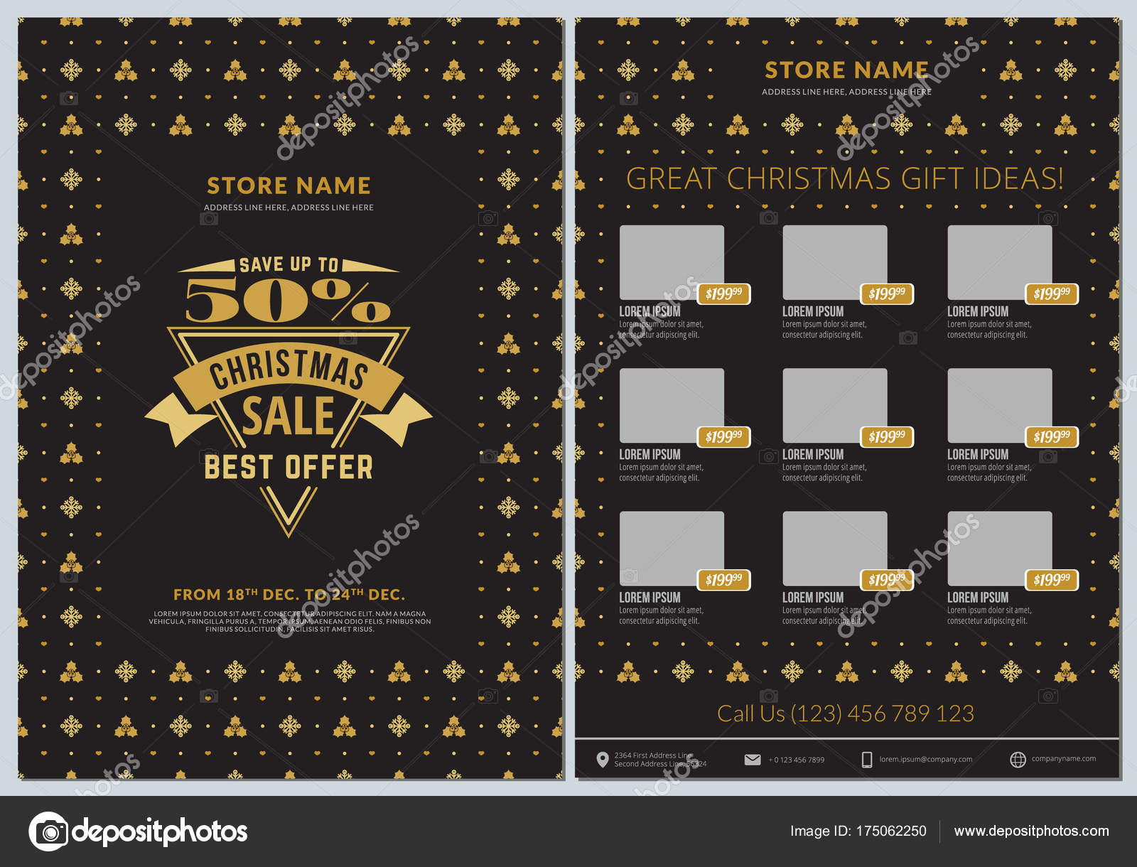 christmas sale catalog design business flyer template vintage