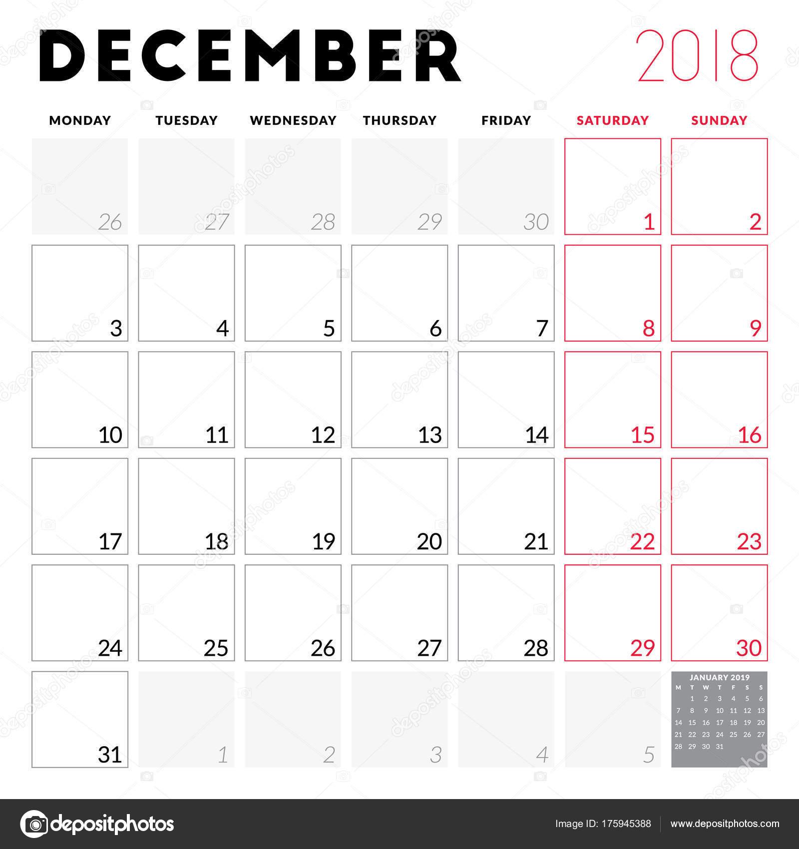 calendar planner for december 2018 week starts on monday printable