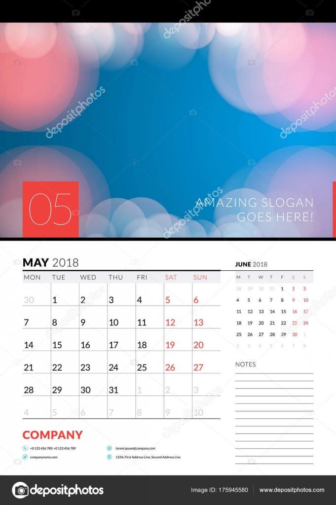 Kalender Planer Wandschablone für Mai 2018. Vektor-Design drucken ...