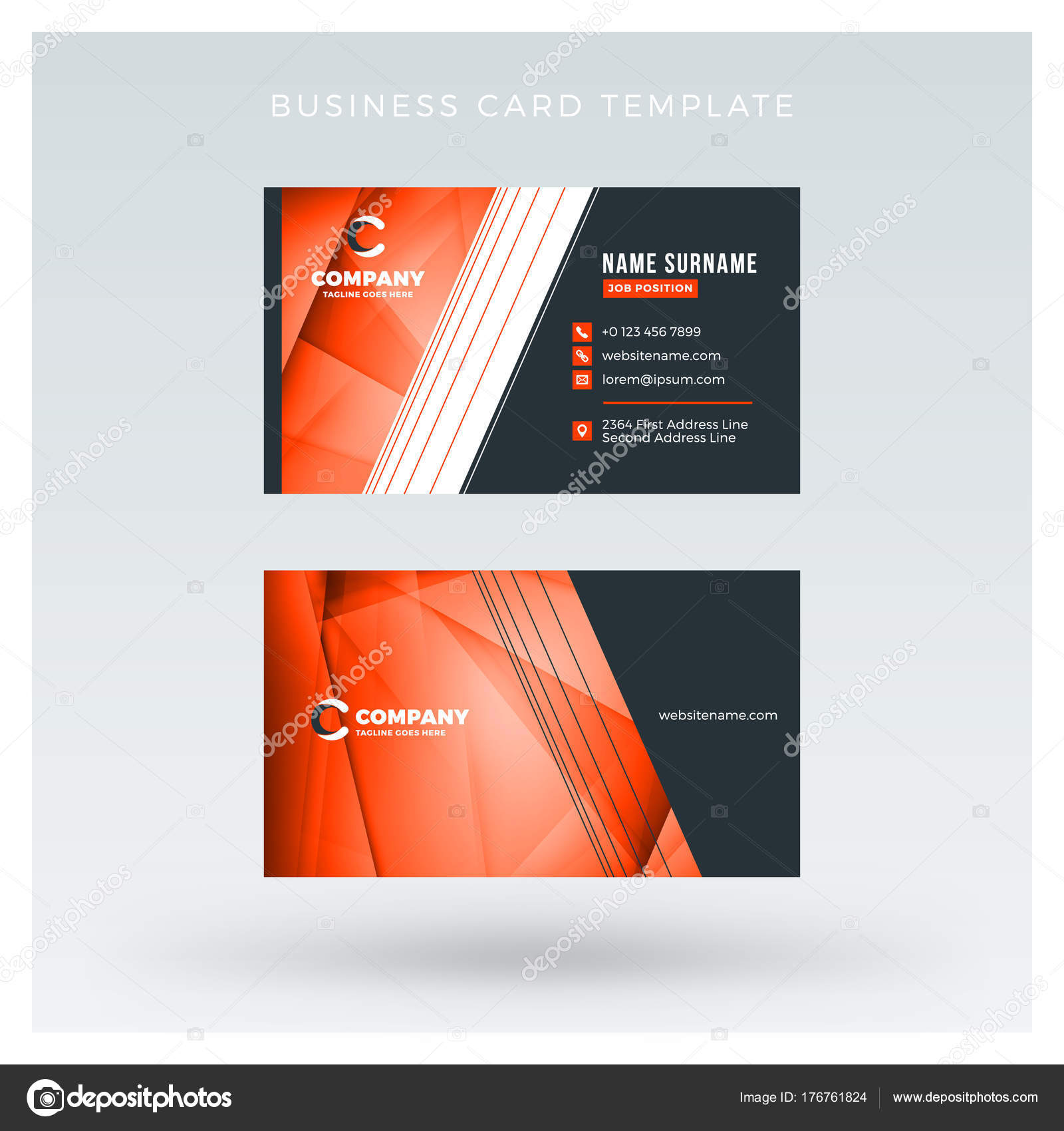 Creative and clean double sided business card vector template with creative and clean double sided business card vector template with abstract background red and reheart Images