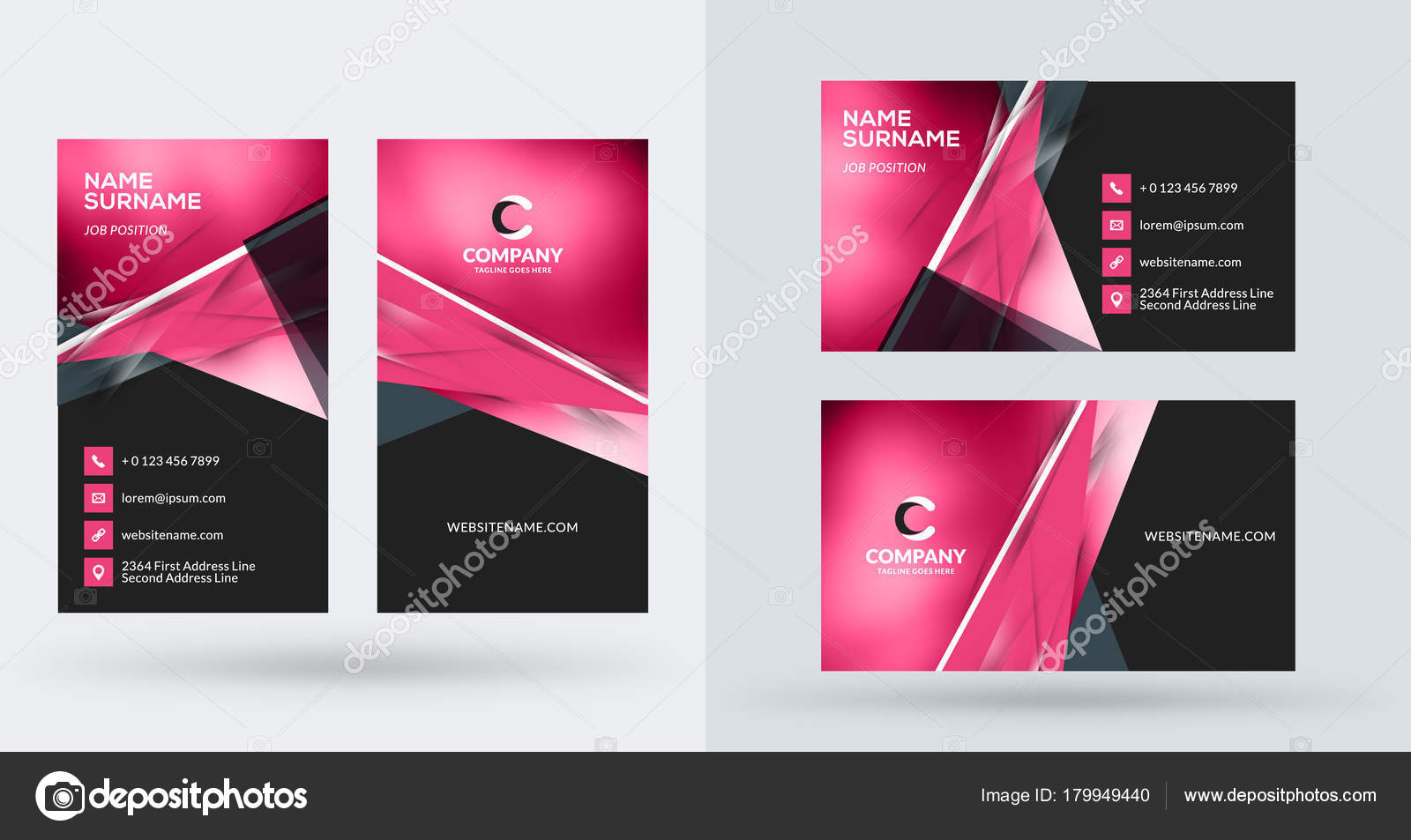 Double Sided Creative Business Card Template Portrait And Landscape Orientation Horizontal Vertical