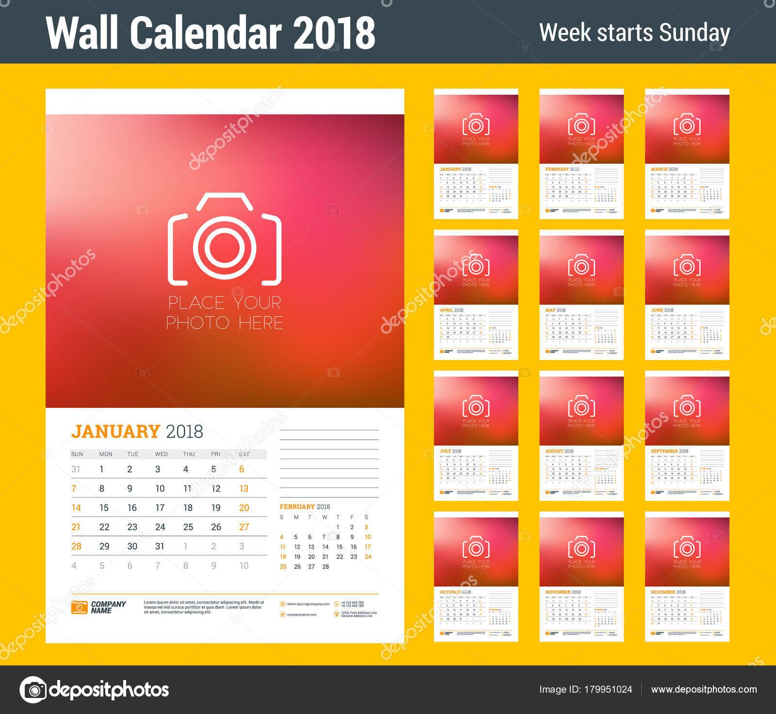 Kalender Planer Wandschablone für 2018 Jahr. Satz von 12 Monaten ...