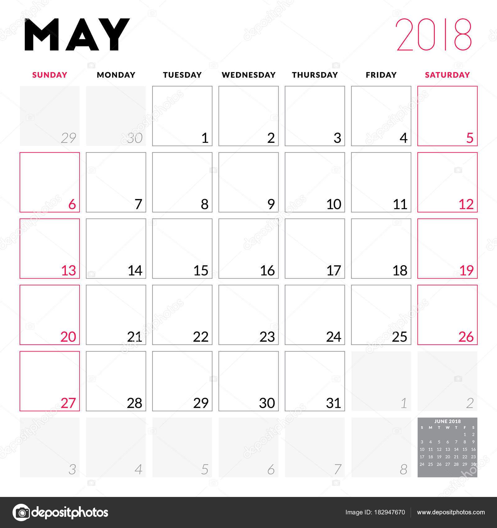 Kalender Planer für Mai 2018. Woche beginnt am Sonntag. Druckbare ...