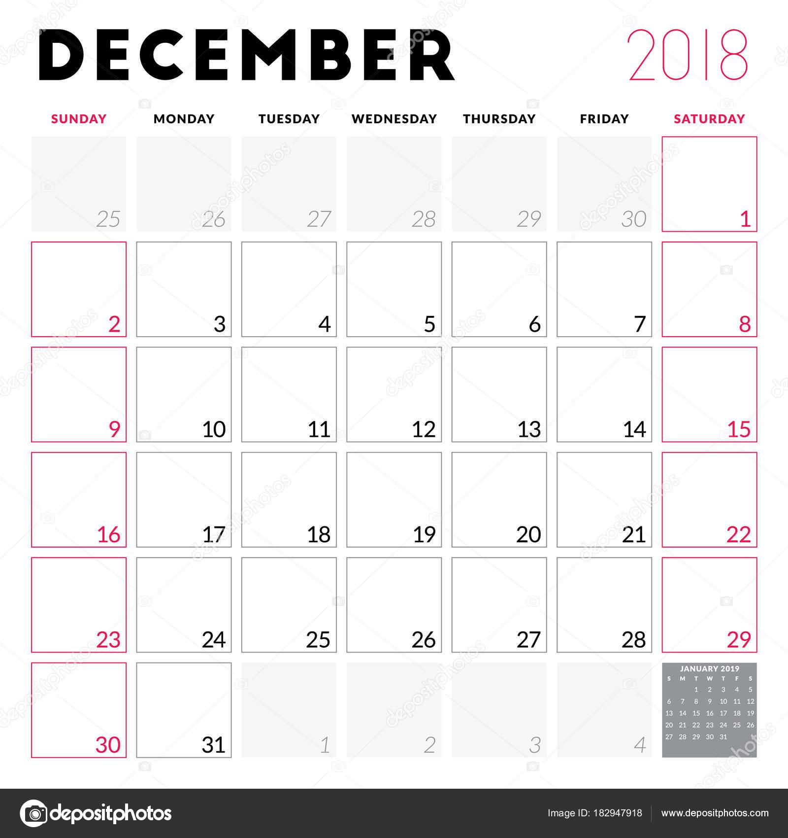 Calendario Diciembre 2018 Para Imprimir.Planificador De Calendario Para Diciembre De 2018 La Semana