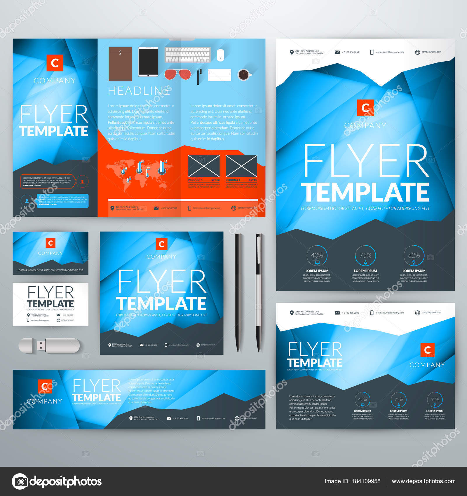 Identite Visuelle Avec Fond Abstrait Vector Web Banniere Flyer Depliant Affiche Carte De Visite Illustration Stock