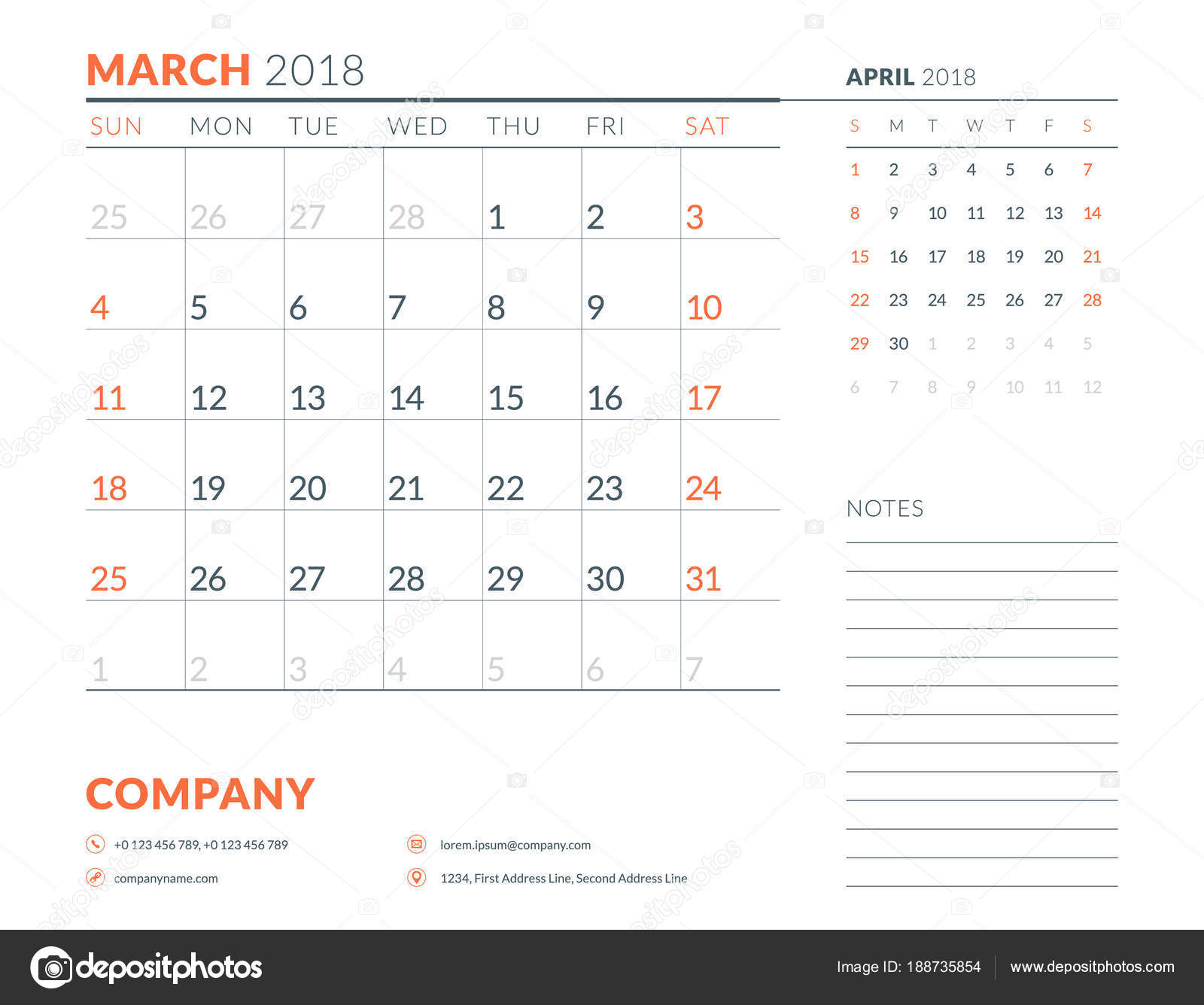 march 2018 calendar planner design template week starts on sunday stationery design
