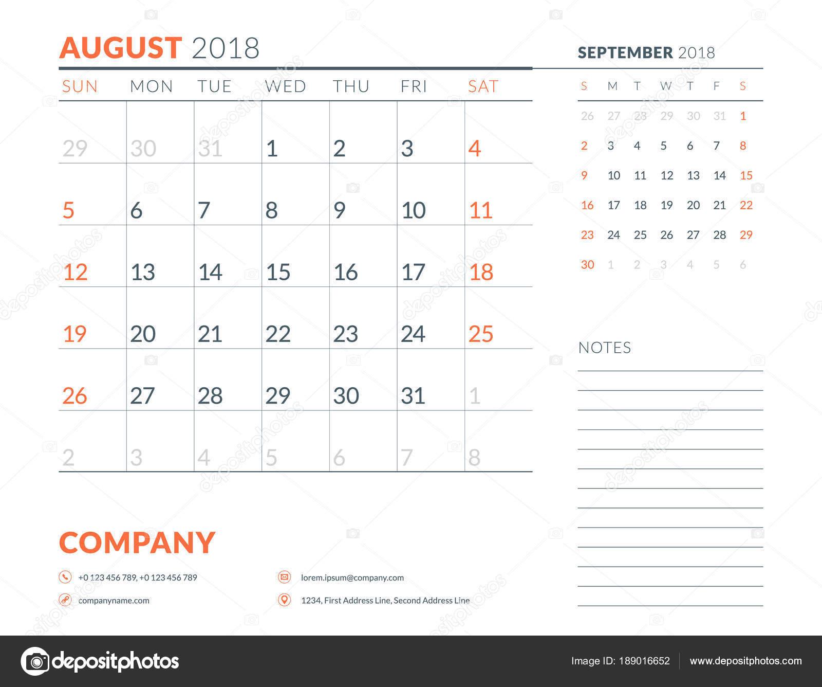 august 2018 calendar planner design template week starts on sunday