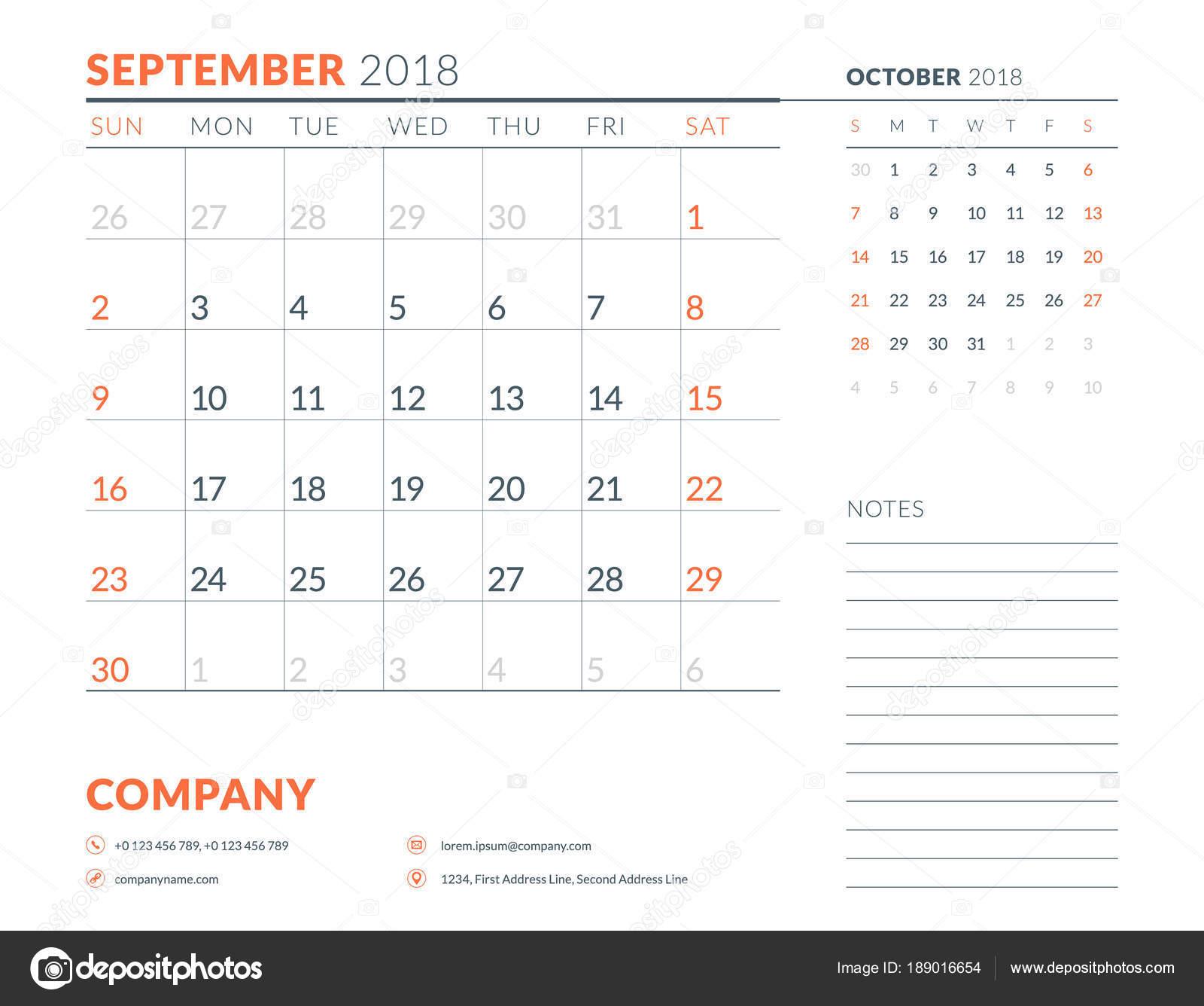 September 2018  Calendar planner design template  Week