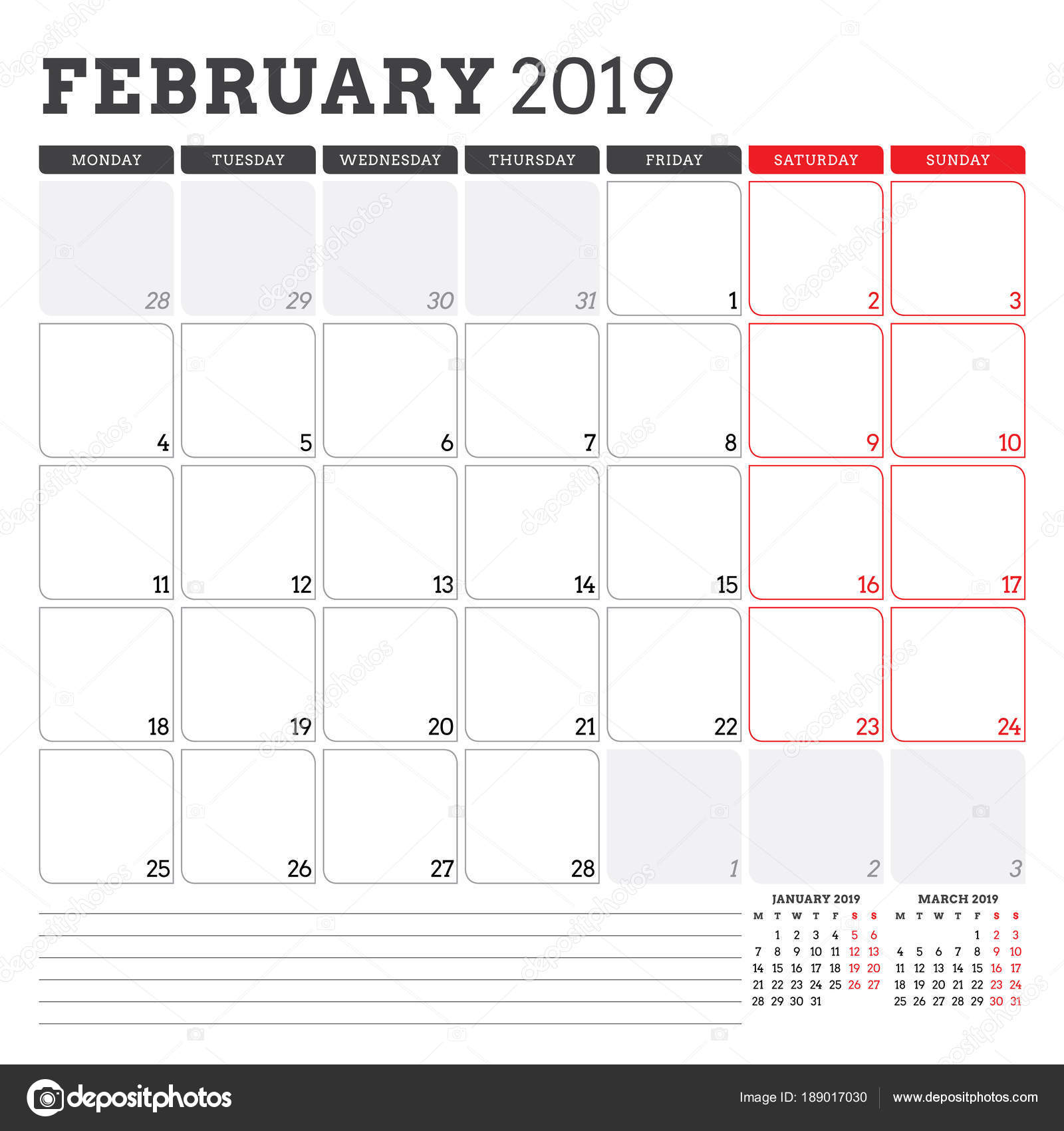 Calendar Planner For February 2019 Week Starts On Monday Printable