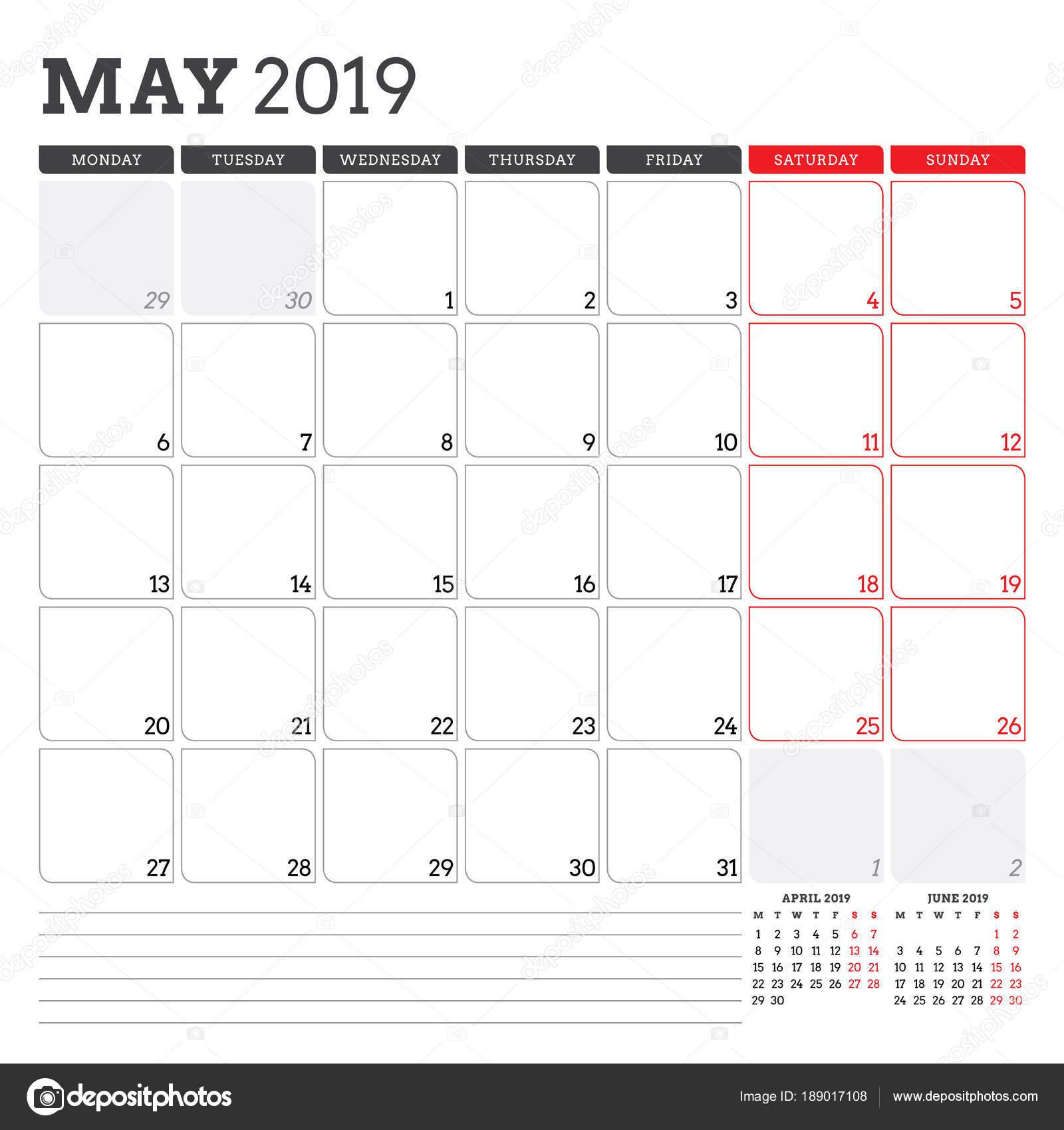 printable monday through friday calendar