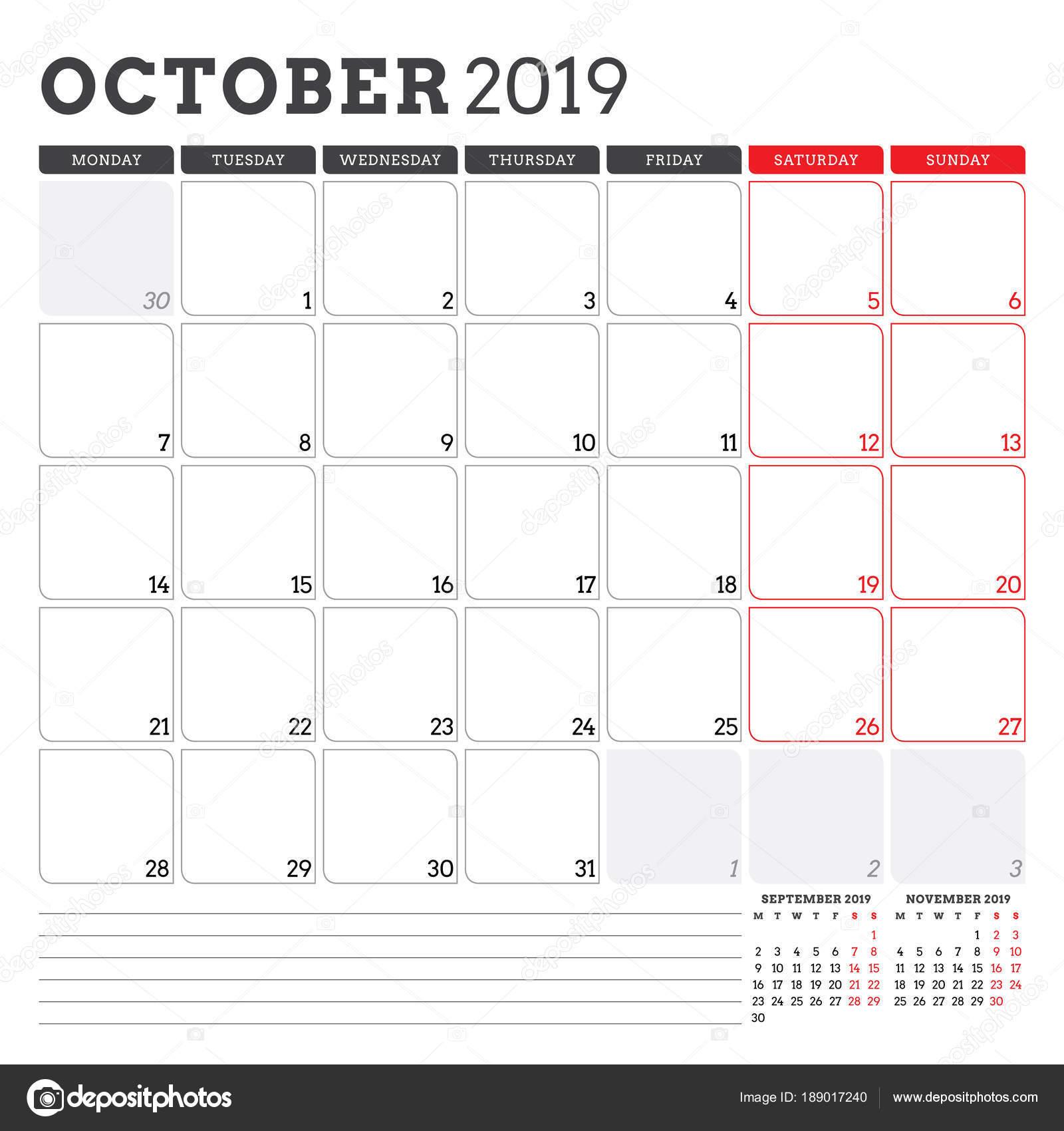october weekly calendar 2019
