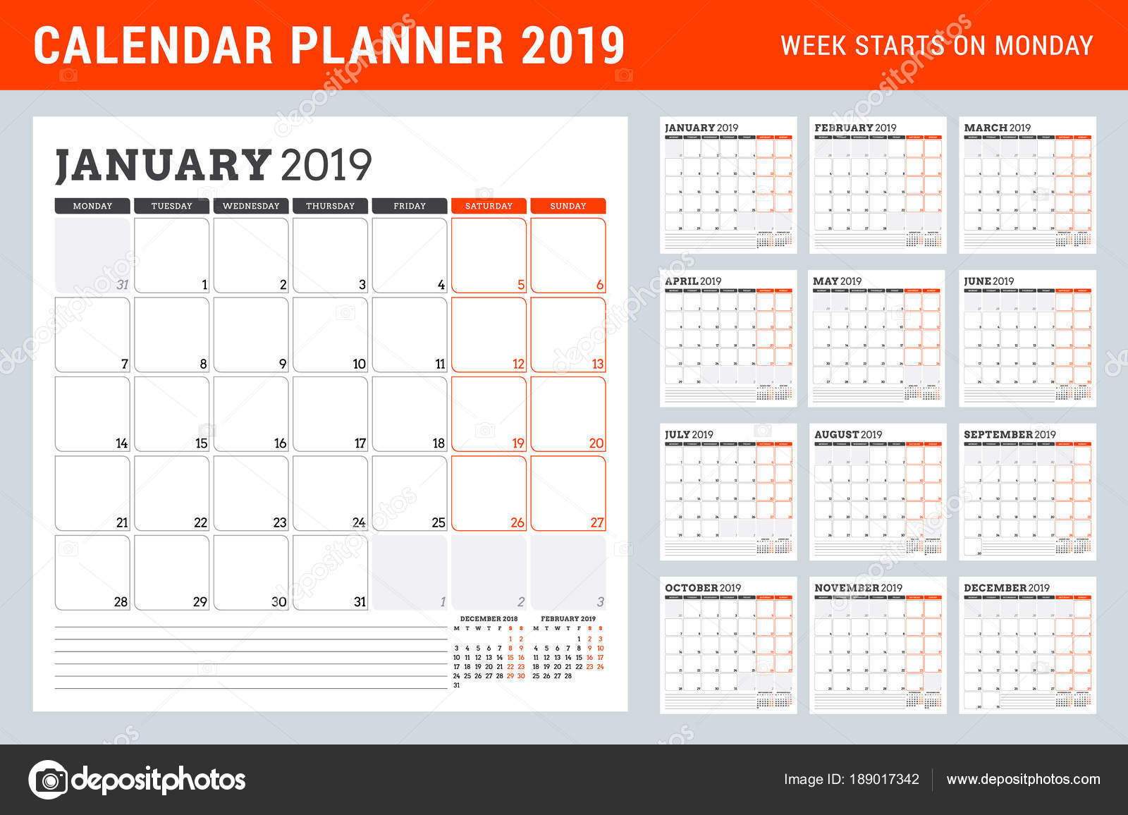 Calendar Planner For 2019 Year Week Starts On Monday Set Of 12