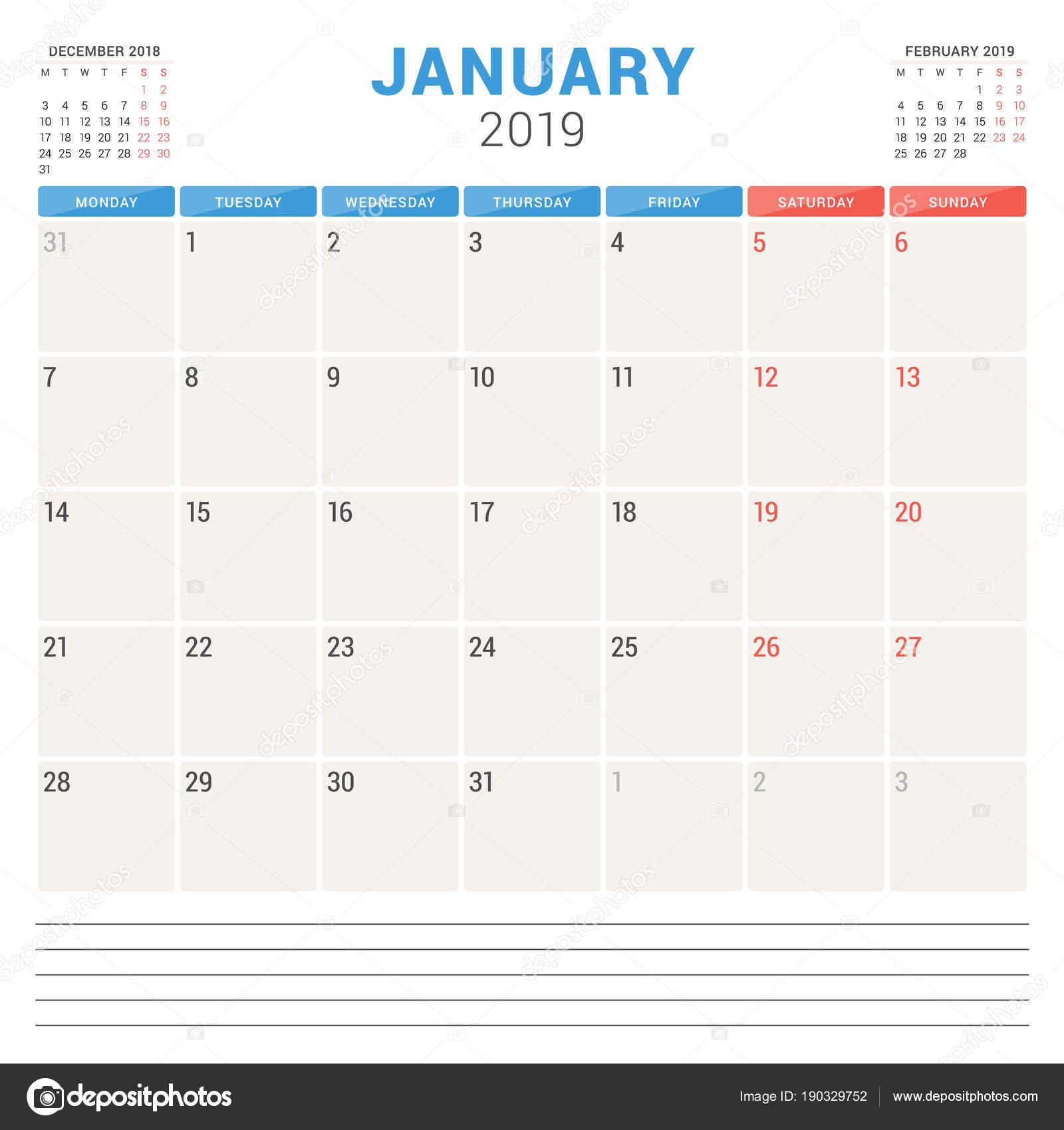 Kalender Planer für Januar 2019. Woche beginnt am Montag. Druckbare ...