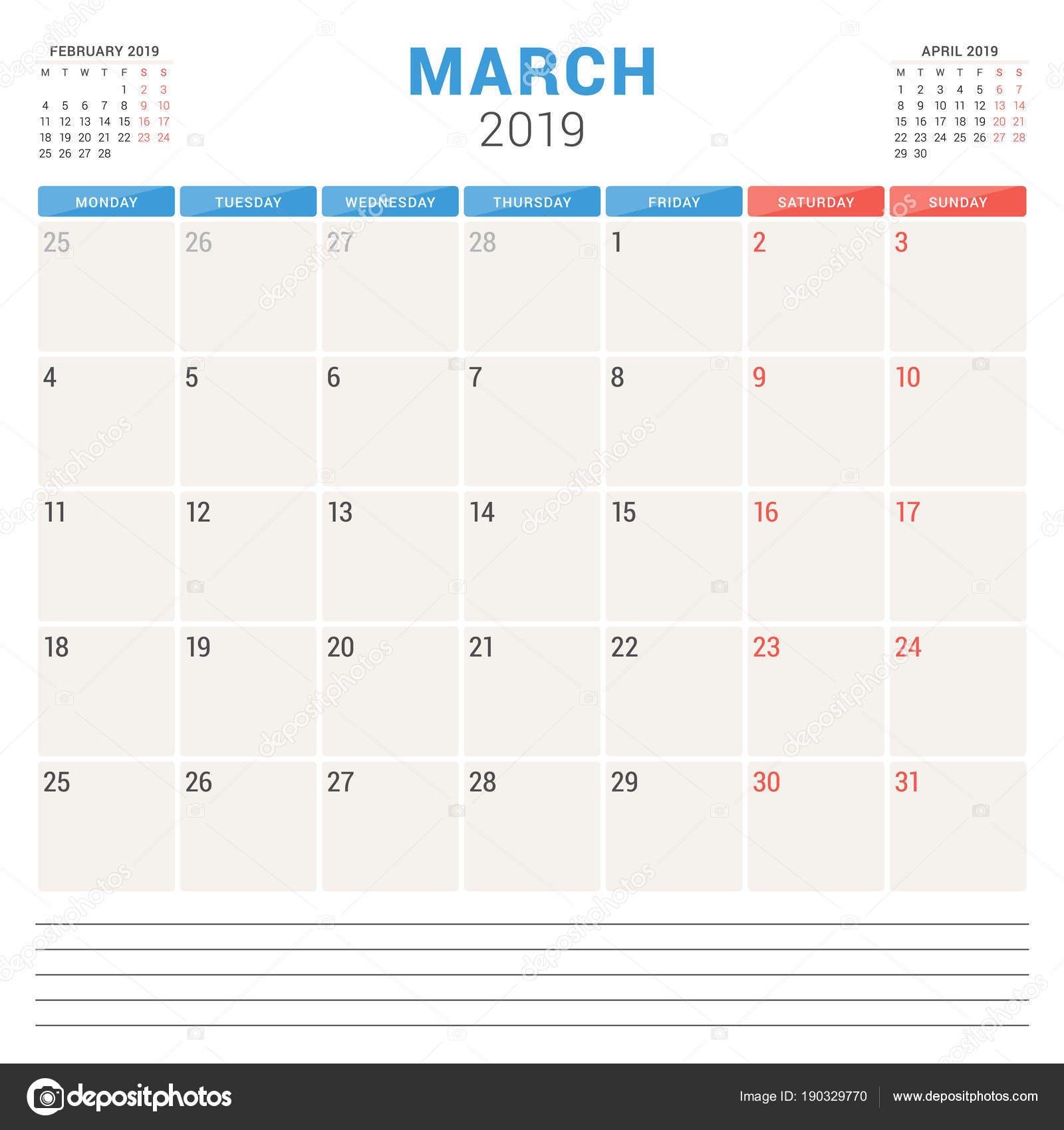 Marzo Calendario.Calendario Planner Per Marzo 2019 Settimana Inizia Il Lunedi