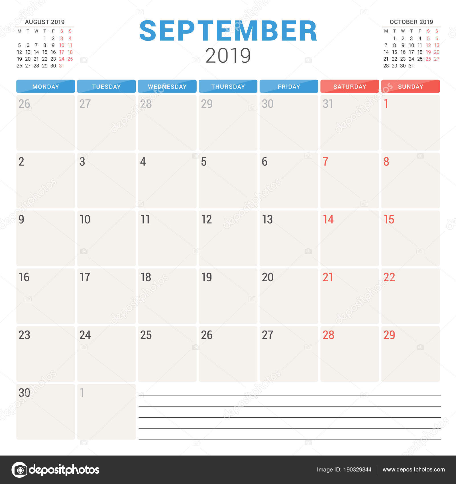 Template Calendrier 2019.Calendar Planner For September 2019 Week Starts On Monday