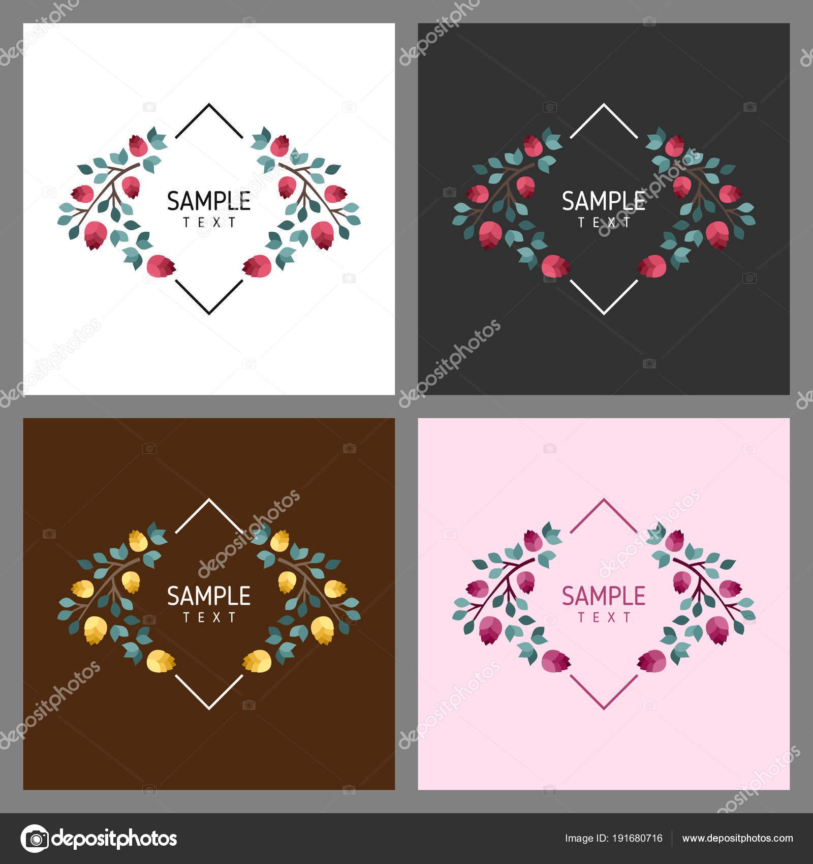 Conjunto de tarjetas con Marcos florales. Concepto de ornamento de ...