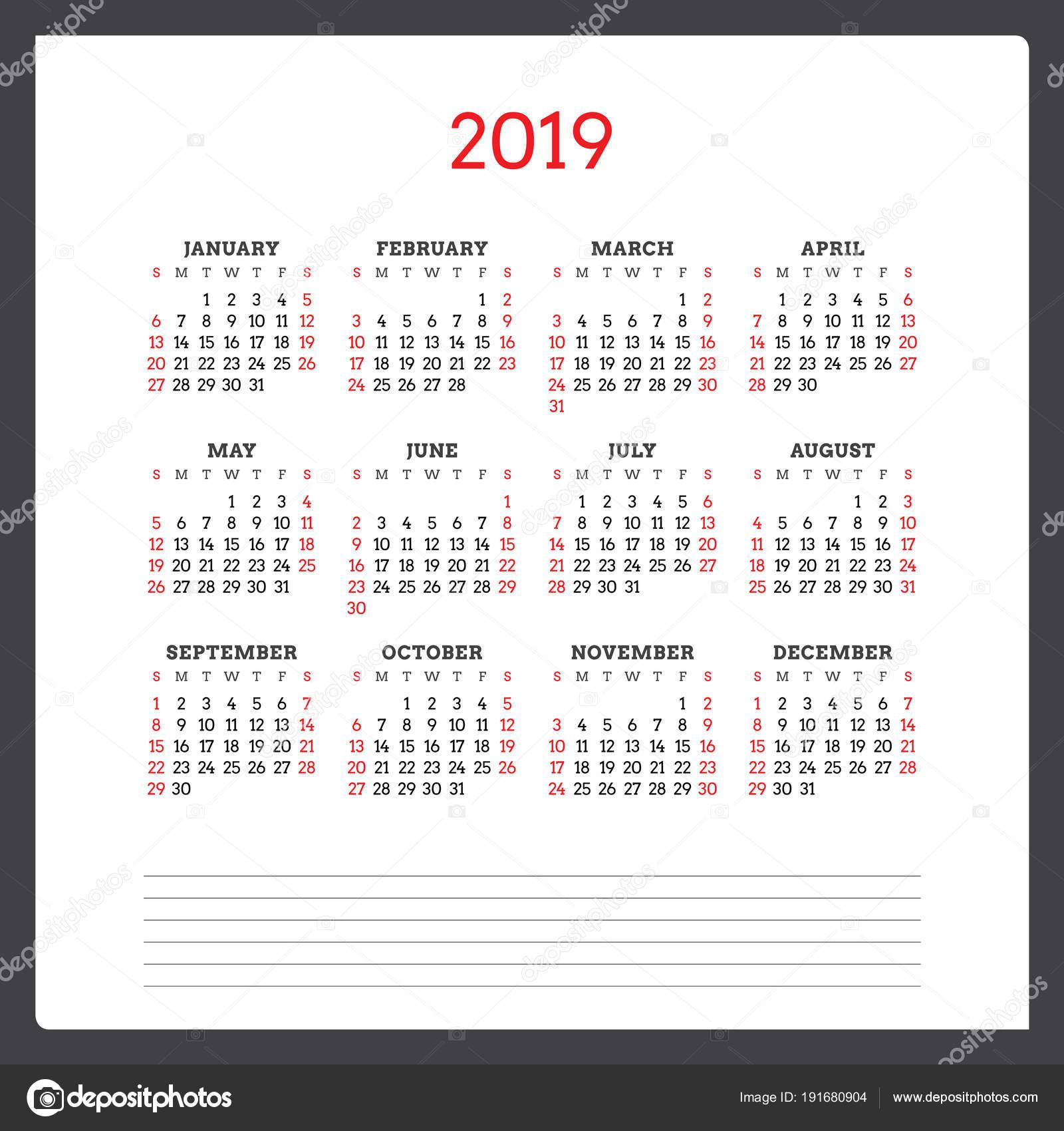 Calendario Numero Settimana 2019.Calendario Per L Anno 2019 Settimana Inizia Domenica