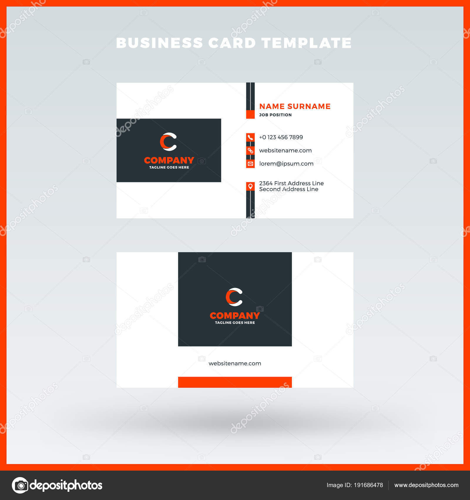 Creative and clean double-sided business card vector template. Red ...