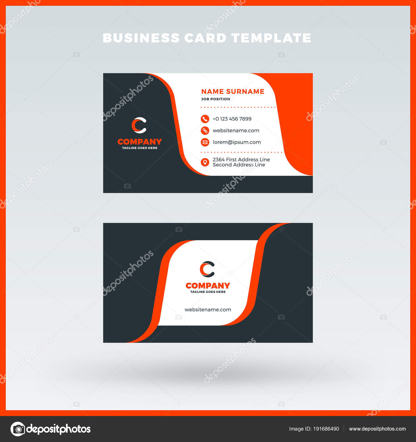 Creative and clean double sided business card vector template red creative and clean double sided business card vector template red and black color theme fbccfo Gallery
