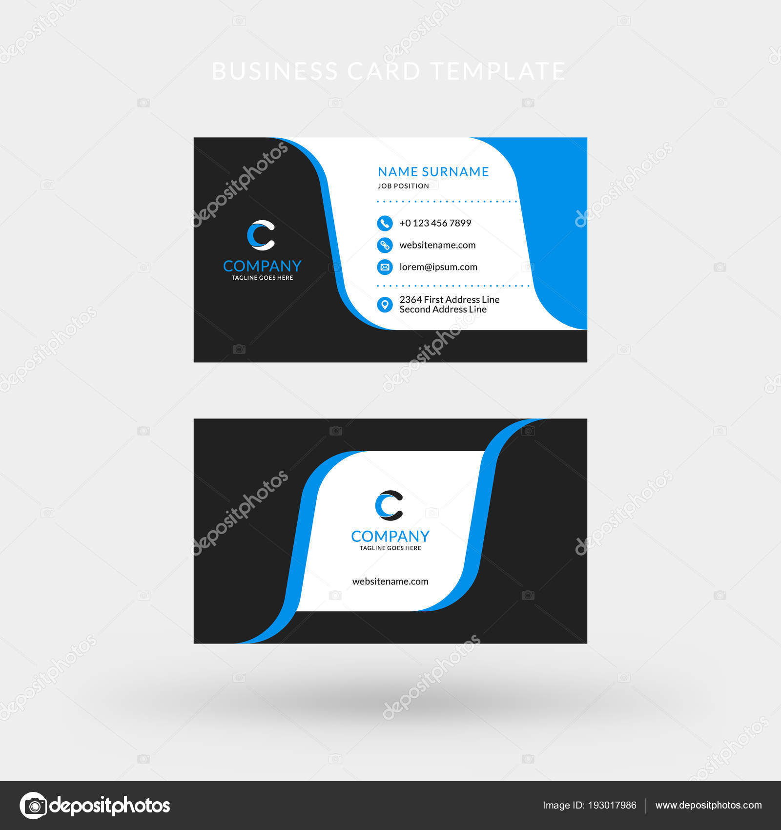 Double sided horizontal business card template vector mockup double sided horizontal business card template vector mockup illustration stationery design blue and black color theme vector by antartstock colourmoves