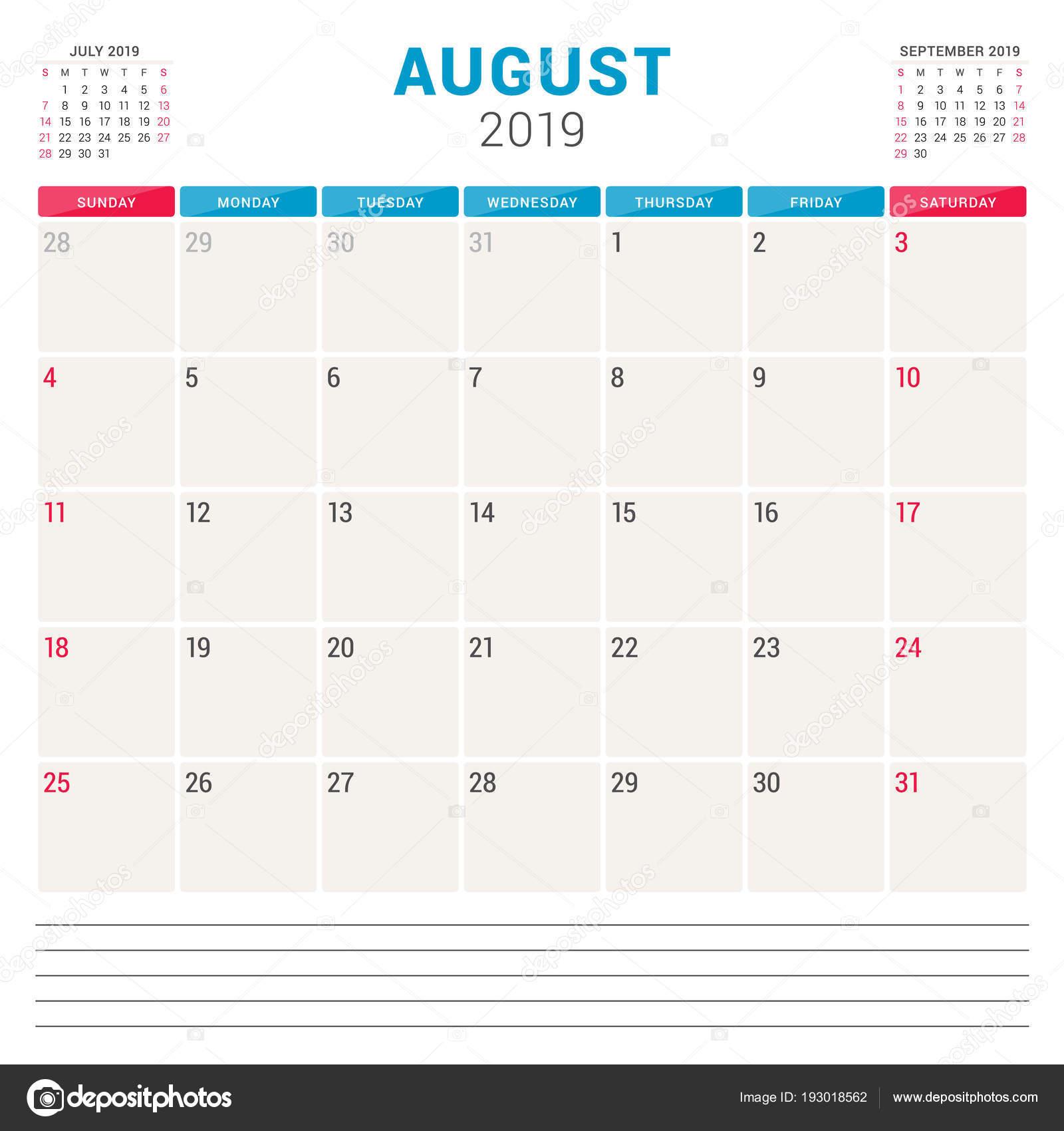 Agosto Calendario.Calendario Planner Per Agosto 2019 Settimana Inizia