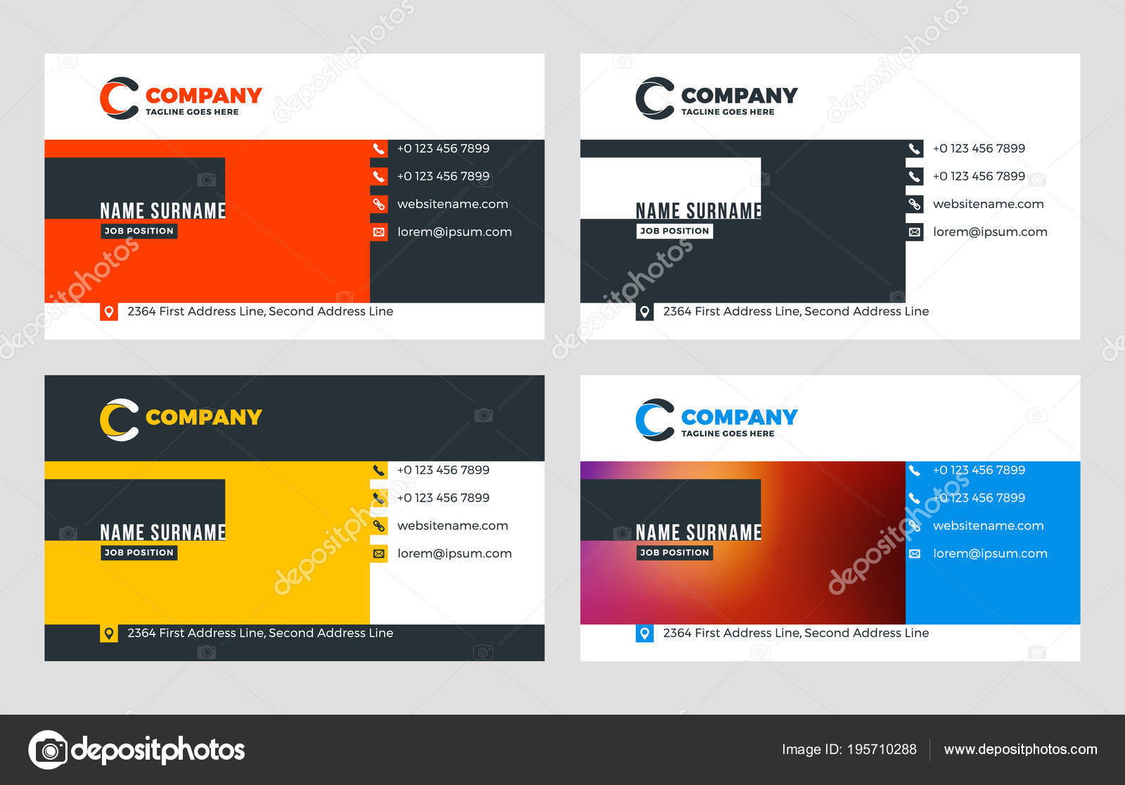 Creative business card template flat design vector illustration creative business card template flat design vector illustration stationery design 4 color combinations print template vector by antartstock reheart Image collections