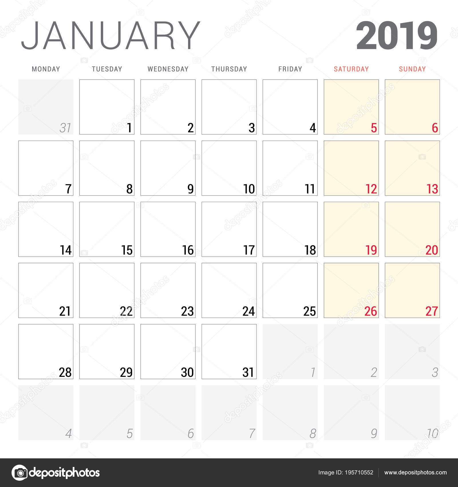 2019 január naptár Naptár tervező január 2019. Hét kezdőnapja a hétfő. Nyomtatható  2019 január naptár