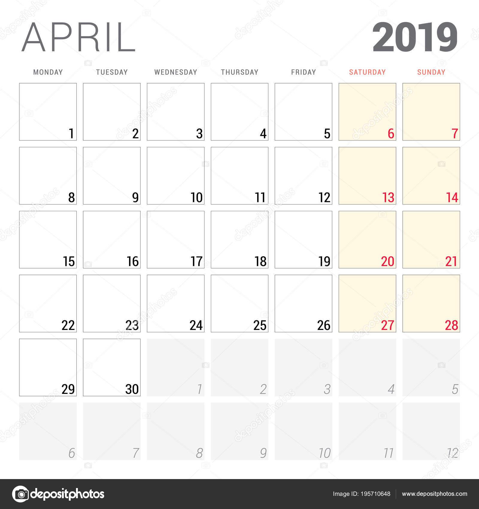 2019 áprilisi naptár Naptár tervező április 2019. Hét kezdőnapja a hétfő. Nyomtatható  2019 áprilisi naptár