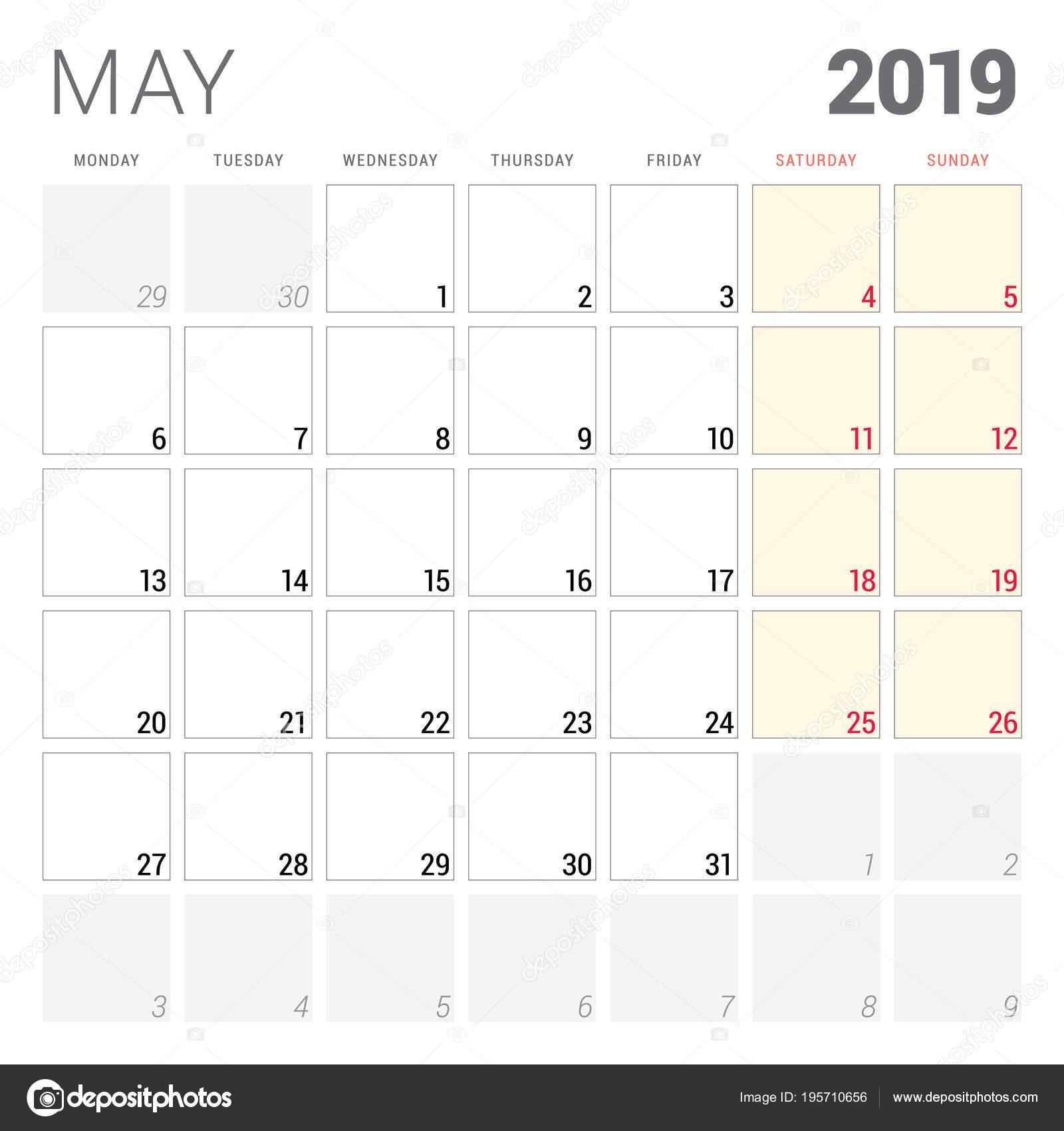 Calendario Stampabile.Calendario Planner Per Maggio 2019 Settimana Inizia Il