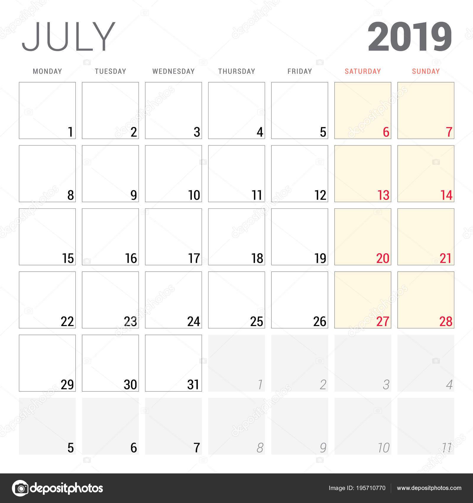 Calendario 31 Luglio 2019.Calendario Planner Per Luglio 2019 Settimana Inizia Il