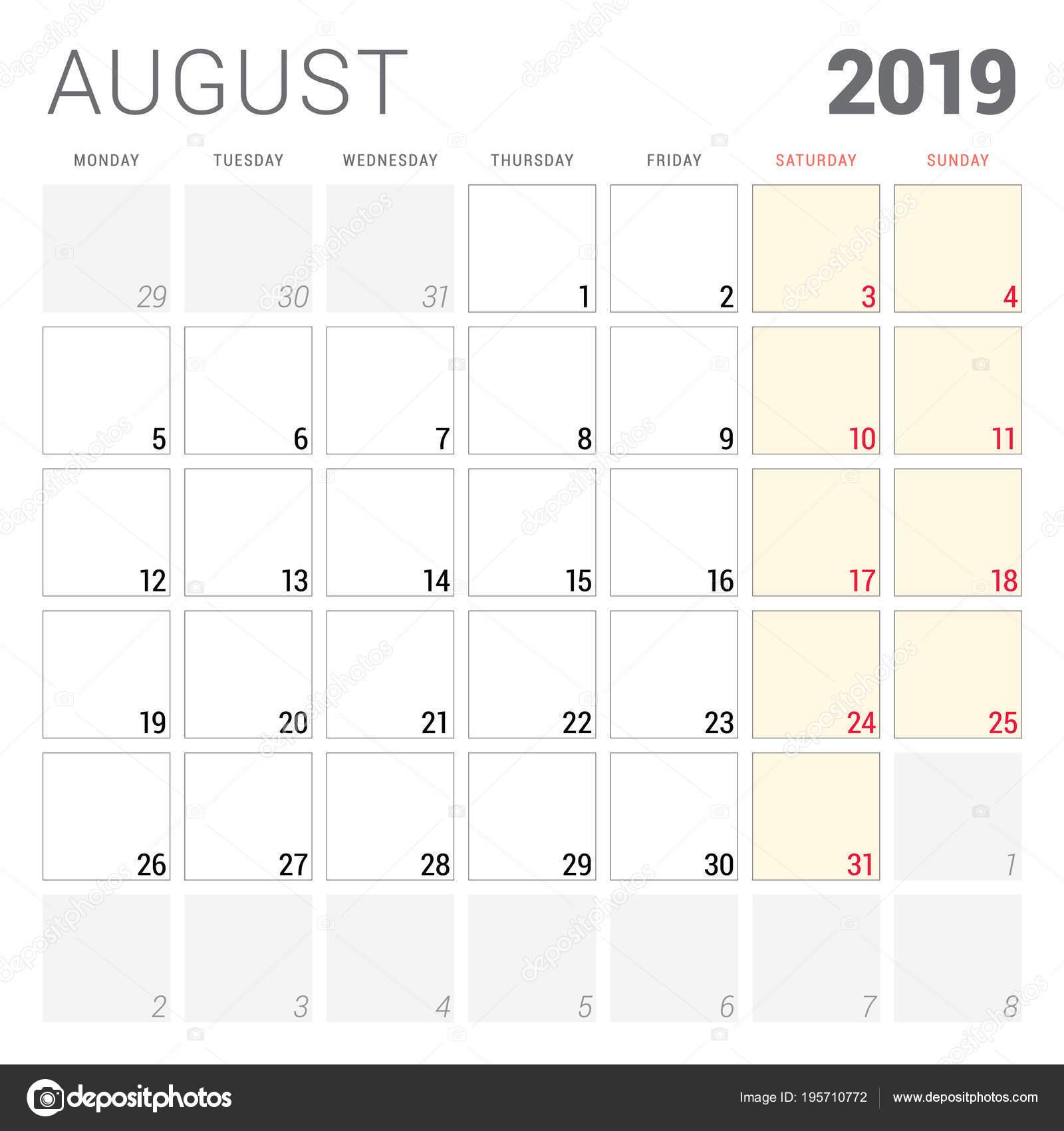34af61cd21 Naptár tervező augusztus 2019. Hét kezdőnapja a hétfő. Nyomtatható vektoros  levélpapír tervezősablon — Stock