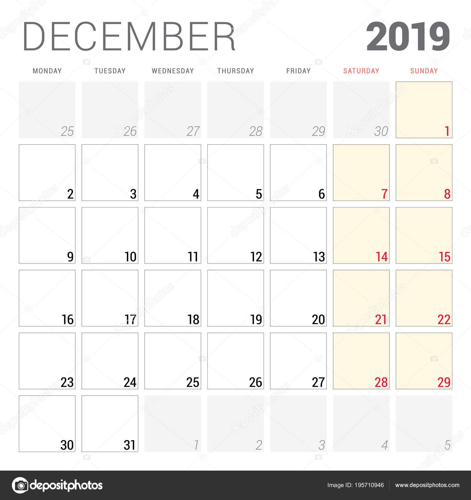 Calendario Dicembre 2019 Stampabile.Calendario Planner Per Dicembre 2019 Settimana Inizia Il