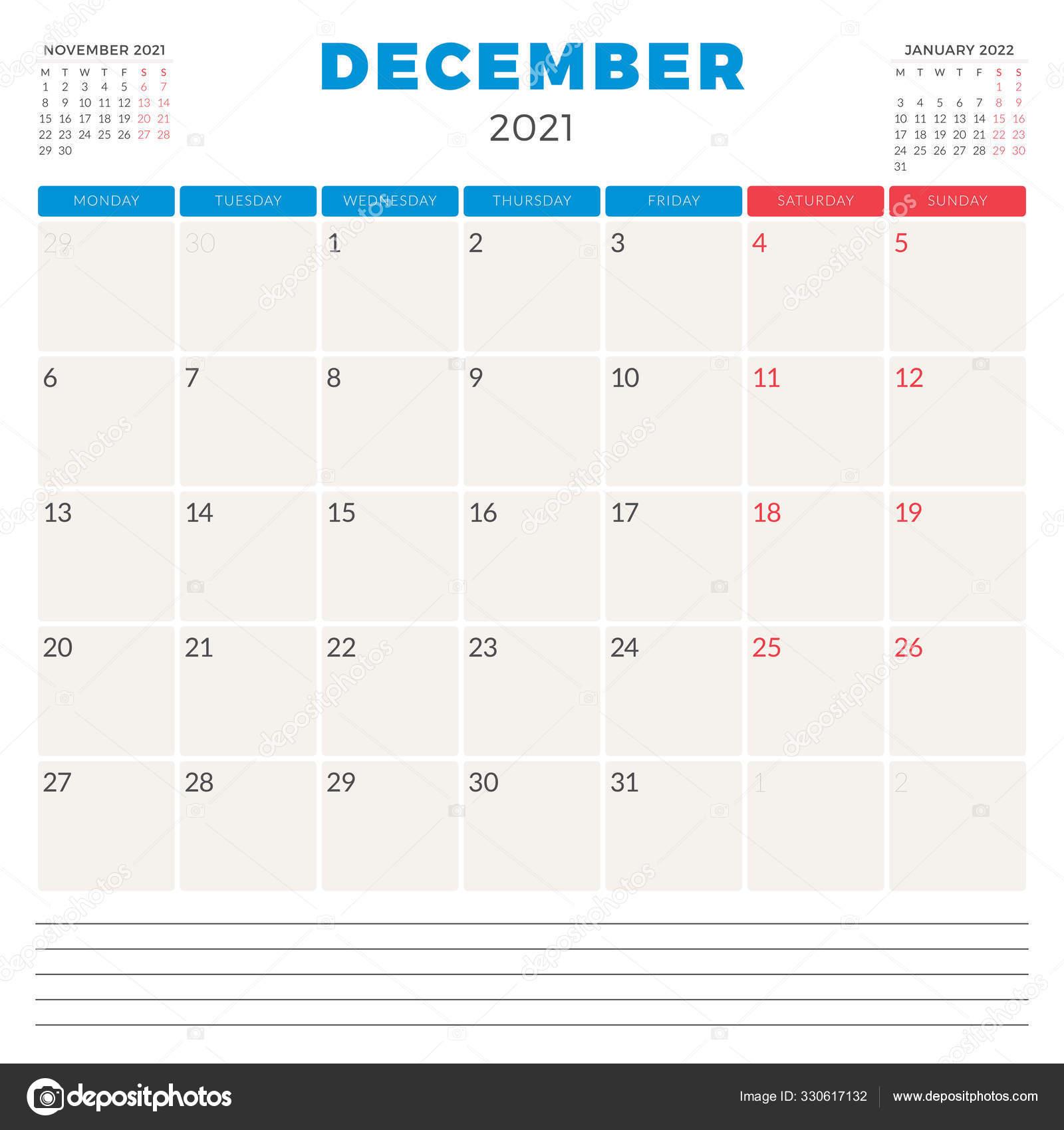 Calendar planner for December 2021. Week starts on Monday ...