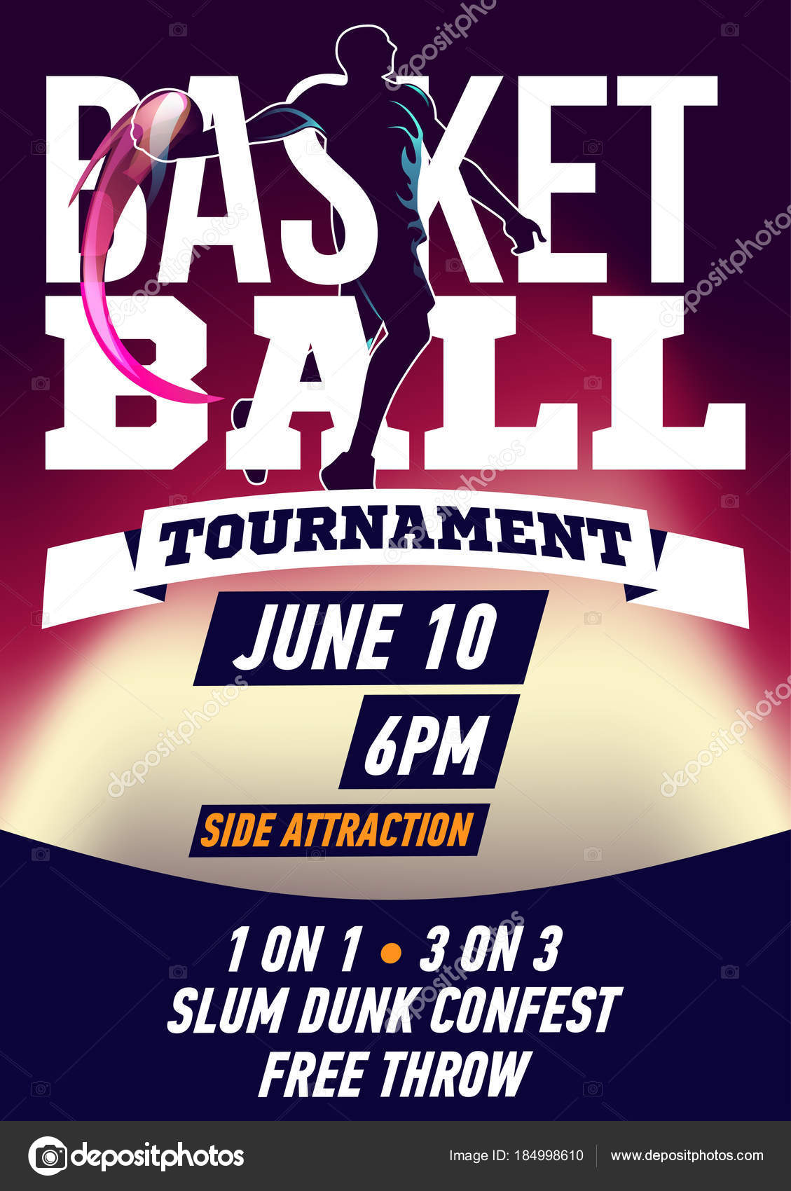 basketball tournament flyer stock vector pechenuh 184998610
