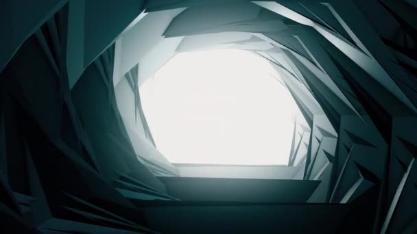 3d render flying in a industrial tunnel abstract tunnel of metal structure