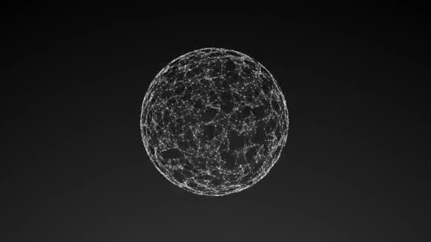 abstraktní geometrická kompozice z chaotických pomalu se pohybujících teček a čar