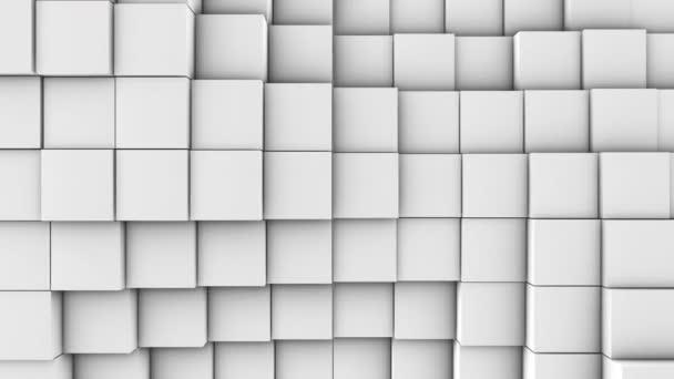 eine Menge weißer Würfel auf der Oberfläche des gesamten Bildschirms Volumetriwelle wie Bewegung der Würfel dicht nebeneinander Zeitlupe abstrakten Hintergrund