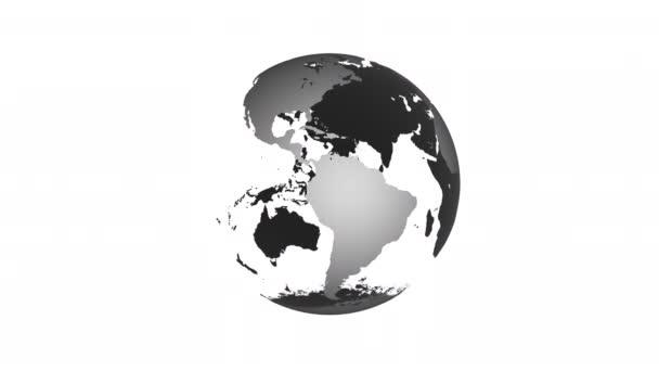 animace rotující glóbus zemské planety na černém pozadí smyčky