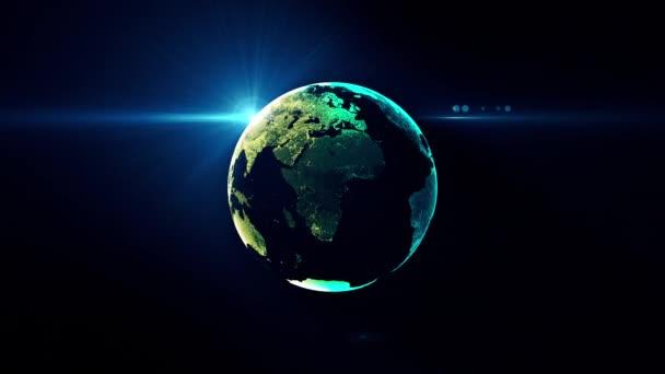 Země globus s transparentní noční mapou Země pomalu otáčí kolem své osy bezproblémové futuristické technologie animace digitálního světa se světelnými efekty na pozadí hlubokého modrého gradientu