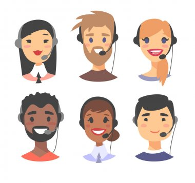 Portrait of happy smiling customer support phone operator. Callcenter worker with headset. Cartoon vector illustration women and men agent