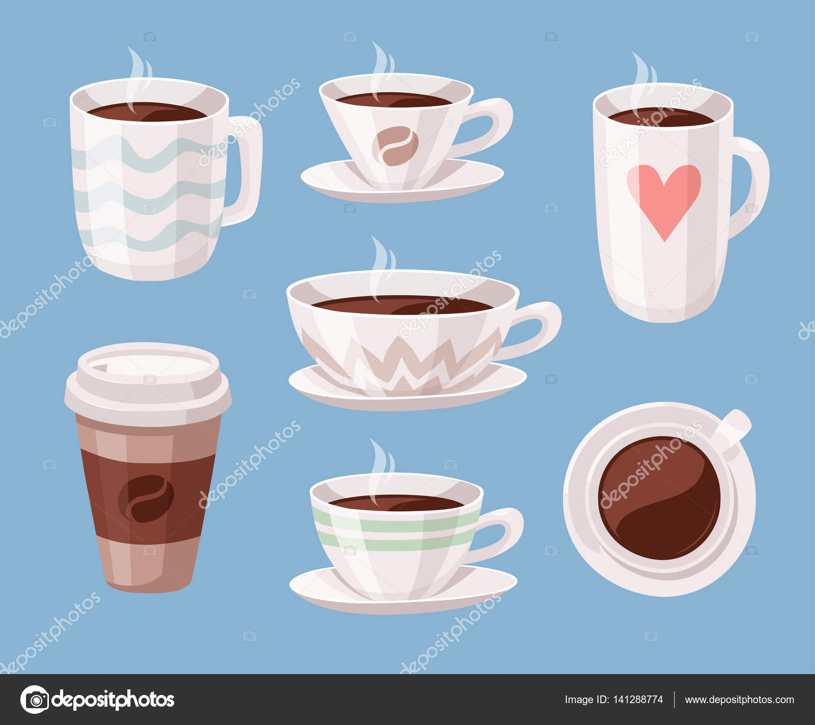 Satz von Cartoon Stil Kaffeetasse. Vector Illustration ...